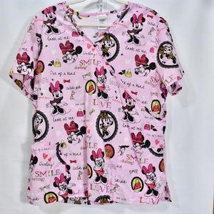 Disney Pink Minnie Mouse Scrub Top XL